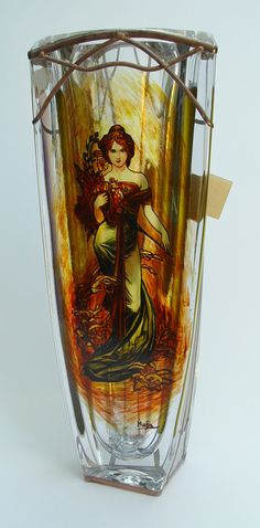 """13"""" x 6.5"""" (330 mm x 165 mm) Massive, glass, bright, hand-painted decorative vase, product of Czech glass factories. Precise copy of Mucha's artwork."""