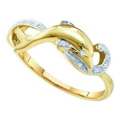 10K Yellow Gold 0.05ctw Shiny Pave Diamond Swirl Row Dolphin Fashion Ring