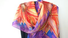 Orange Flowers Silk Scarf for Ladies. Hand Painted Long Scarf in Orange, Green, Tangerine. 18x71 in  Shawl Painted. Silk Art. Ready to Ship by SilkLetters on Etsy