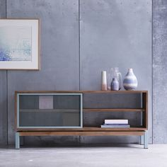 TV Unterschrank aus Metall und Teak 140 Color Bebop - - Tikamoon