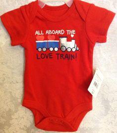 All Aboard The Love Train One Piece Romper Red Sz Newborn Infant Baby Boys NWT    eBay