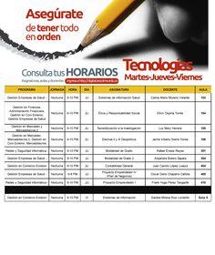 @Escolmeeduco Horarios tecnologías Martes, jueves y viernes