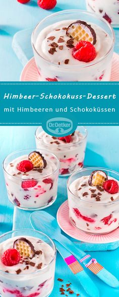 Himbeer-Schokokuss-Dessert Raspberry chocolate kiss dessert: A dessert dream with raspberries and chocolate kisses Chocolate kiss dessertPuffs raspberry DesserWhite chocolate raspberry Quick Dessert Recipes, Easy Desserts, Mexican Food Recipes, Dessert Healthy, Healthy Recipes, Dessert Simple, Food Cakes, Avocado Dessert, Avocado Smoothie