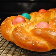 Braided Easter Egg Bread Allrecipes.com  This is a great recipe, beautiful and not difficult to make.