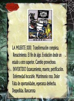 Trastos de Bruja: La Muerte Tarot Significado, Le Tarot, Tarot Card Meanings, Tarot Spreads, Tarot Decks, Numerology Chart, Astrology Chart, Tarot Cards, Wiccan