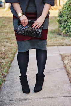 Striped Gray + Burgundy Pencil Skirt from Jane.com #veryjane // Lauren Richardson: Dressing Dallas Blog