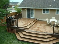 If you have travelled around, they you must have seen numerous deck designs. It may even hinder you from deciding which deck is the most ideal for you. Patio Deck Designs, Patio Design, Backyard Patio, Backyard Landscaping, Outdoor Patios, Outdoor Rooms, Landscaping Ideas, Outdoor Living, Tiered Deck