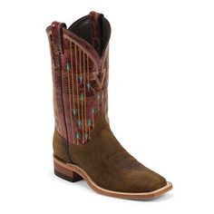 Justin Men's Bent Rail Checkmate Square Toe Western Boots