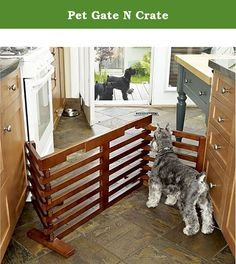 Pet Gate N Crate. A Pet Gate and Pen all in one! Now you can have a pet gate and a pet crate with one great product. This pet gate is free standing so there is no worries about screws or pressure clamps damaging your home. The Pet Gate N Crate is designed to fit almost any space and allows for endless configurations. When you need a dog pen, simply make the gate a three sided pen against any wall. Your pet now has his own space to sleep and you won't need to worry about his safety…