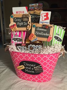 Dinner and a movie date night gift baskets, gift card basket, movie basket gift Date Night Gift Baskets, Movie Basket Gift, Gift Card Basket, Movie Night Gift Basket, Date Night Gifts, Movie Gift, Themed Gift Baskets, Diy Gift Baskets, Christmas Gift Baskets