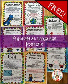 FREE Figurative Language Posters for your classroom!  Eight posters including alliteration, hyperboles, personification, onomatopoeia, idioms, puns, similes and metaphors, and proverbs and adages!  Enjoy!