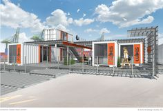 experimental sales center for re-purposed shipping containers. constructed from modular systems. material selection to reflect industrial context + sales products.