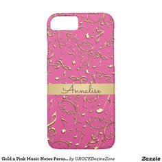Gold n #Pink #Music Notes Personalized #iPhone 7 Case   #zazzle