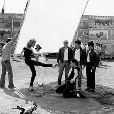 Olivia Newton-John (Sandy) and John Travolta (Danny) behind the scenes of Grease.