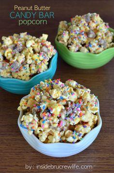 Peanut Butter Candy Bar Popcorn on MyRecipeMagic.com