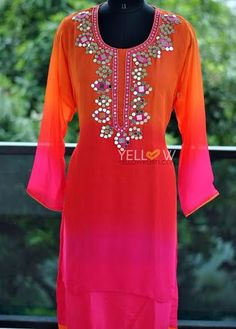 Georgette layered and shaded Kurti with heavy and real mirror work around neckline. Inner material - Rayon .