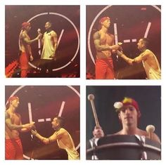 Awwww Tyjo and Jishwa // lol I'm not sure where Josh got the flower, but he tried to give it to Tyler, but Tyler just got down on his knee and gave it back to Josh. So cute. I love their friendship