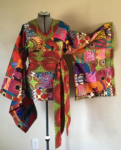 African Wax Print Patchwork Kimono Wrap Top With Wide Belt image 1