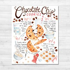 Cookies And Cream Cake, Peanut Butter Cookie Recipe, Homemade Chocolate Chip Cookies, Chocolate Chip Recipes, Chocolate Chocolate, Healthy Chocolate, Recipe Drawing, Bakery Decor, Easy Cookie Recipes