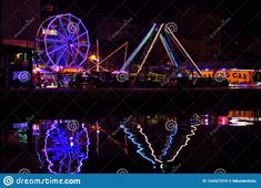 Photo about Amusement park at my hometown;Located near a small harbor that once was the main port of the town. Image of reflections, once, water - 134327919