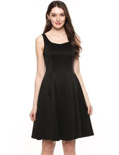 Black Square Collar Sleeveless Solid Elastic A-Line Tank Casual Dress