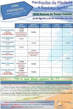 PARÓQUIAS DO PORTO SANTO: Horário das Paróquias de 30 de Agosto a 06 de Sete...