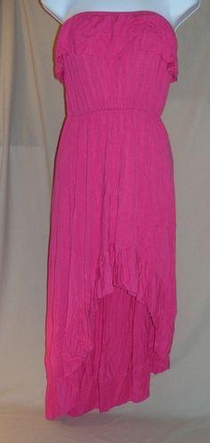 Cristina Love Pink Summer Strapless Long Dress Halter Top Womens Size Medium M #CrisitinaLove #Maxi #Casual