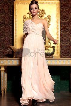 Ruffles One Shoulder Sweetheart Neckline Floor Length Light Pink Evening Dress Pink Evening Dress, Chiffon Evening Dresses, Chiffon Dress, Strapless Dress Formal, Beaded Chiffon, Zuhair Murad, Pink Bridesmaid Dresses, Prom Dresses, Formal Dresses