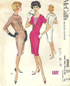 McCall's 4990 Vintage 50s Sewing Pattern Sheath by studioGpatterns, $22.50