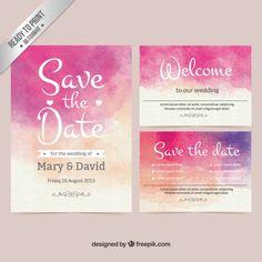 Invitación de boda de acuarela Vector Gratis