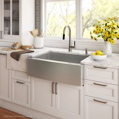 """Kraus Handmade Series 29.75"""" x 20.75"""" Farmhouse Kitchen Sink with Faucet and Soap Dispenser"""