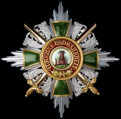 Baden German State Order of the Zahringen Lion breast star.  Instituted: 26 December 1812.   Discontinued: 1918.  Grades: 4 (Grand Cross, Commander, Knight 1st Class, and Knight 2nd Class) plus a Merit Cross.