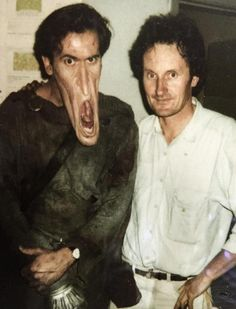 Bruce Campbell poses in full prosthetics alongside assistant camera operator James Fitzgerald during the production of Army of Darkness. Best Horror Movies, Horror Films, Real Horror, Horror Art, Bruce Campbell Evil Dead, Evil Dead Movies, Ash Evil Dead, James Fitzgerald, Sam Raimi