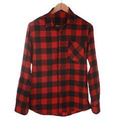 Fashion Mens Button Plaid Shirt Long Sleeve Flannel Plaid Casual Shirt DMM43 #Affiliate