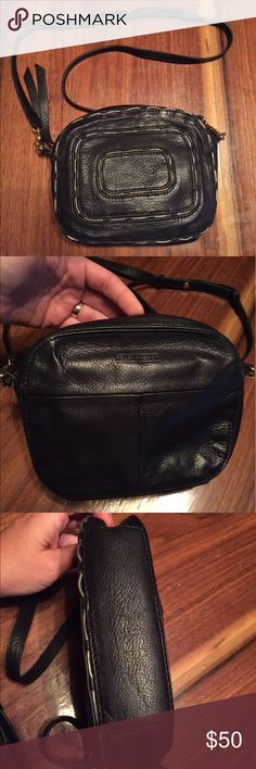 "Kelsi Dagger black leather crossbody! Really nice black leather Kelsi Dagger cross body purse bag with gold tone hardware. No issues or flaws carried only a few times. Measures 8"" x 6.5"" x2"" with strap drop of 21"". No dust bag. Kelsi Dagger Bags Crossbody Bags"