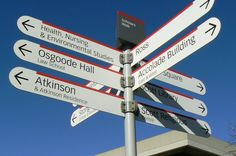 Signboards like these help point the way to major buildings on Keele Campus. Photo: E.Fenner for YorkIntl.