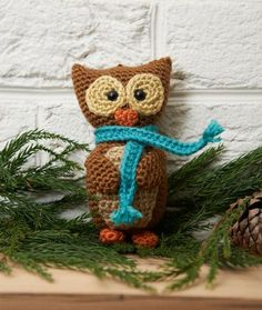 "Wise Owl Ornament from Red Heart. (6"" tall - could make this -- & the other animals -- using Pearle cotton and a smaller hook for an ornament about half that size)"