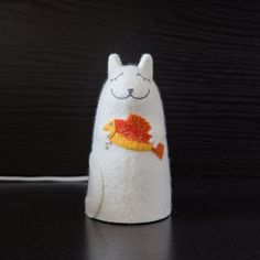 """Lamp """"Cat with golden fish"""", height - 17 cm, wet felting, embroidery, needle felting"""