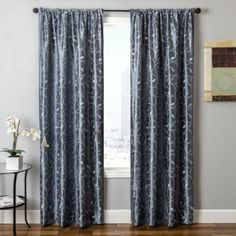 Sedro Scroll Faux-Silk Rod-Pocket Curtain Panel - Federal Blue