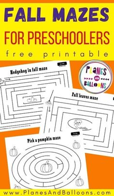 Free printable fall activities for preschool - fall mazes fine motor skills for preschoolers. #fall #prek #planesandballoons Fall Preschool Activities, Printable Preschool Worksheets, Preschool At Home, Free Preschool, Free Printables, Teaching Kindergarten, Teaching Ideas, Motor Skills, Fine Motor