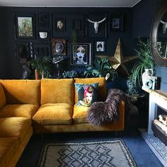 Dark and moody living room with an eclectic gallery wall and mustard velvet sofa. Dark and moody living room with an eclectic gallery wall and mustard velvet sofa. Dark Living Rooms, Eclectic Living Room, Living Room Sofa, Living Room Interior, Living Room Furniture, Coastal Living, Zebra Living Room, Dark Rooms, Interior Office