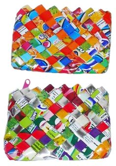 Product: Coin Purse  Company: gogreenitems.com  -Buy this purse to use for your coins or a wallet or ID holder! Made out of old juice boxes!! Such a cool recycled idea! And it's cute! #greendorm