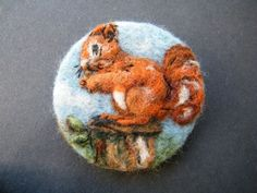 Hand Made Needle Felted Brooch/Gift -   Squirrel Nutkin   by Tracey Dunn