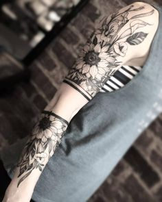 "artof-black: ""By . Line Art Tattoos, Dope Tattoos, Flower Tattoos, Black Tattoos, Body Art Tattoos, Hand Tattoos, Tattoos For Guys, Tattoo Ink, Arm Band Tattoo For Women"