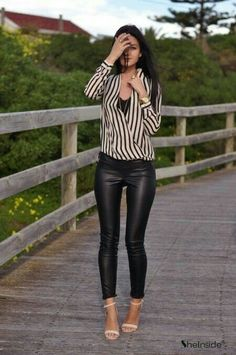 Outfits with leather leggings, beige pants outfit, black leather pants, lea Mode Outfits, Fall Outfits, Casual Outfits, Fashion Outfits, Womens Fashion, Fashion 2014, Classy Outfits, Fashion Ideas, Leggings Negros