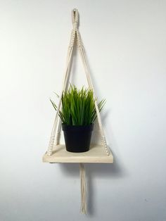 Etagère bois et Macramé suspension, suspension plante