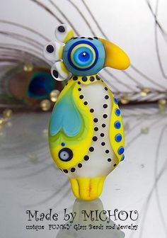 Crazy Chicken baby bird Lampwork bead by Michou by michoudesign
