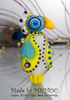 Crazy Chicken baby bird Lampwork bead by Michou by michoudesign