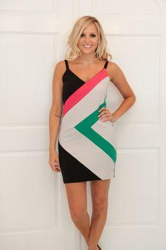side diamond colorblock dress