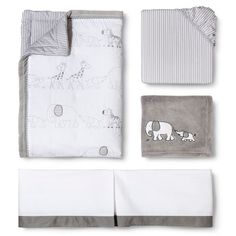 Circo® Two by Two 4pc Crib Bedding Set - LOVE the cute animals from Noah's Ark theme! The pic looks tan but it's grey and white which will be tha main color scheme in his room.